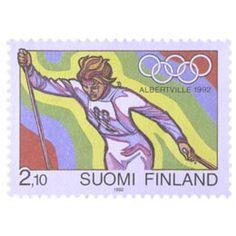 Postimerkki: Olympiakisat Albertvillessä 1992 | Suomen postimerkit Postage Stamps, Baseball Cards, Sports, Finland, Stamps, Hs Sports, Sport