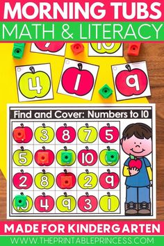 This adorable kindergarten fall math and literacy morning tubs resource include perfect beginning of year activities for students to practice letters, numbers, counting, ten frames, making 5, beginning sounds, editable name practice, editable sight words fine motor, and more! Subtraction Activities, Kindergarten Math Activities, Sight Word Activities, Math Literacy, Counting Activities, Alphabet Activities, Kindergarten Classroom, Classroom Ideas, Learning To Write