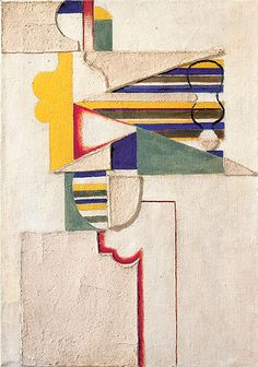 Figure with Stripes, 2nd version by Willi Baumeister, 1920, (Figur mit Streifen, 2. Fassung), Oil and paper-mâché on canvas, 73.5 × 52 cm, Private collection,  Catalogue Raisonné Beye/Baumeister 199
