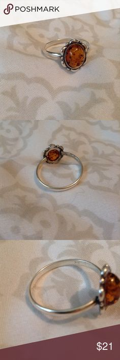 Amber ring .925 silver size 11 Jewelry Rings