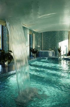 Indoor pool and waterfall in private home in Nikolina Gora, Russia. To be rich in Russia...