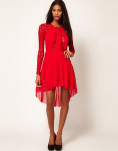 Mid-season sale: Red dress! ASOS Lace Insert Skater Dress With High Low Hem, $ 19.95