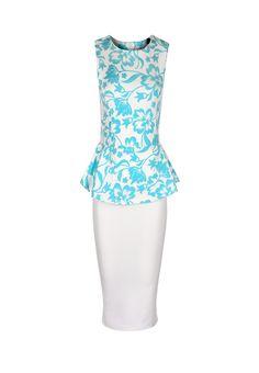 Today's Offer: 20% OFF  Loya Flocked Floral Peplum Midi Dress £11.99