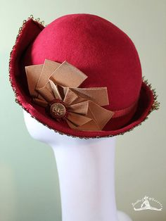 0be91dc1 Bright Red Cloche Hat - Red Wool 3-Point - 1930s Hat - 1920s Hat - Vintage  Inspired Cloche - Gold Ribbon - Vintage Button Hat
