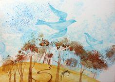 """Stašková Klimentová / """" septembrové nebo """" / zmiešaná technika / cca 38 x 52 cm Moose Art, Projects, Painting, Animals, Animales, Blue Prints, Animaux, Painting Art, Paintings"""