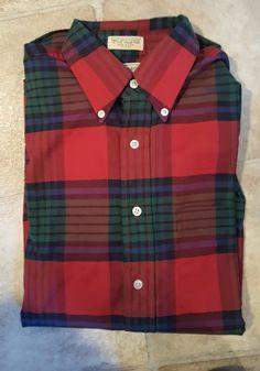 VINTAGE LL BEAN LONG SLEEVE FLANNEL SHIRT RED GREEN PLAID Men's Size 15 1/2 33 #LLBEAN #ButtonFront