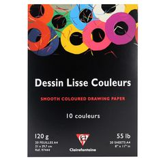 Clairefontaine Dessin Lisse Couleurs, Artists drawing Smooth Coloured Paper Pad 20 Sheets 2 of each colour sheet in the pad, acid free, glued short edge artists quality paper book Paper Manufacturers, Drawing Letters, Pad, Colored Paper, Bright Pink, Smooth, Lettering, Drawings, Crafts