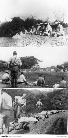 Japon birlikleri Hint savaş esirlerini kullanarak atış talimi yaparken, 1942