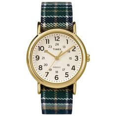 Timex Unisex Weekender Plaid Watch (£30) ❤ liked on Polyvore featuring jewelry, watches, blue, plaid jewelry, timex wrist watch, stainless steel watches, stainless steel jewelry and dial watches
