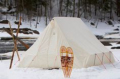 light weight Snowtrekker EXP Shortwall canvas tent with light weight Easton aluminum internal frame, side walls with pickets and guy-out lines