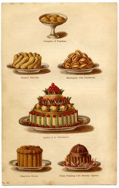 Artfully elegant French desserts, c. 1860s. #Victorian #food #cake #1800s