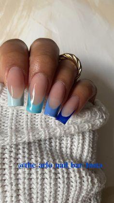 French Tip Acrylic Nails, Short Square Acrylic Nails, Acrylic Nail Tips, Blue Acrylic Nails, Acrylic Nails Coffin Short, Simple Acrylic Nails, Summer Acrylic Nails, Coffin Acrylic Nails, Blue Ombre Nails