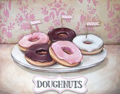 """Doughnuts"" vintage inspired print M"