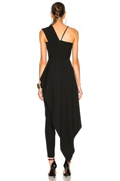 Image 4 of Michelle Mason Asymmetrical Plunge Cascade Top in Black Look Plus, Apron Dress, Elegant Outfit, Jumpsuits For Women, Pretty Dresses, Indian Fashion, Designer Dresses, Evening Dresses, Fashion Outfits