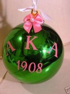 Alpha Kappa Alpha Holiday Green Christmas Ornament #prettypearlsinc