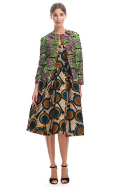 STELLA JEAN: PRINTED WAX COTTON FULL SKIRT TANK DRESS  AND JACKET