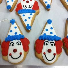 Clown cookies for a carnival themed party by Flour & Sun, via Flickr