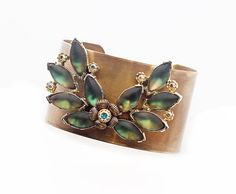 Statement Brass Cuff Boho Hollywood Regency Antique Patina Brass Upcycled Vintage Mad Men Era Earrings Green Gold AB Crystals One of a Kind