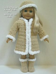 "Crochet Pattern CS26 Furry Coat Hat Boots Fits American Girl Dolls 18"" Dolls 