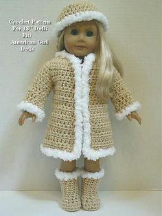 "Crochet Pattern CS26 Furry Coat Hat Boots Fits American Girl Dolls 18"" Dolls   eBay"