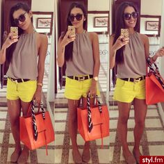 bright shorts, nude sleeveless top, bright tangerine bag