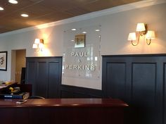 """Custom lobby sign made with 1/2"""" acrylic and brass lettering & logo.  www.pinnaclesignworks.com"""