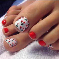 Pretty Toe Nails, Cute Toe Nails, My Nails, Flower Toe Nails, Nail Flowers, Simple Toe Nails, Toe Nail Color, Toe Nail Art, Nail Polish Colors