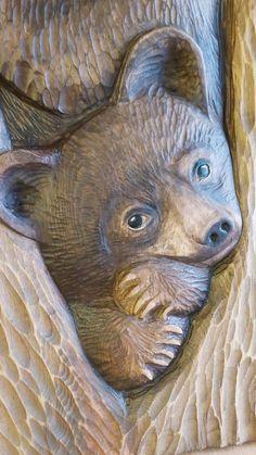 Dremel Wood Carving, Wood Carving Art, Wood Art, Wooden Owl, Wooden Animals, Bear Statue, Sculptures, Lion Sculpture, Tree Carving