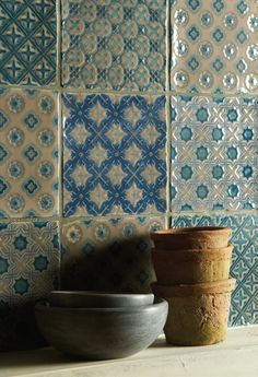 A mix of Behen, Ormeaux, Bourron, Villette and Merles all on Truffle (Photo: Winchester Tile Co) art - inspiration - colour - tiles - kitchen design Bathroom Splashback, Kitchen Wall Tiles, Kitchen Backsplash, Backsplash Ideas, Colourful Kitchen Tiles, Patterned Kitchen Tiles, White Tiles, Tile Ideas, Boho Kitchen