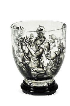 Ena Rottenberg (1893-1950), J. & L. Lobmeyr, Enamel Decorated Glass Vase, 1930.