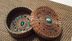 Round medium size trivet basket - $25 - Sold Pine Needle Crafts, Pine Needle Baskets, Forest Floor, Pine Needles, Basket Weaving, Medium, Handmade, Beautiful, Ideas
