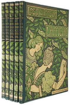 Les Maîtres de l'Affiche. Jules Cheret (editor). Imprimerie Chaix, Paris, 1896-1900. First edition. Five folio volumes, bound. 240 color lithographed plates plus 16 bonus plates created exclusively for this series. Prefaces by Roger Marx. Bound in art nouveau pictorial bindings designed by artist Paul Berthon in dark green cloth stamped in light green, cream, and gold. Beveled boards, blue-gray endpapers, top edges gilt. Tissue-guarded plates on wove paper.