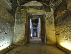 """""""Great Temple"""" of King Sethi I at Abydos: the Inner Shrine of the God Ra-Harakhty, looking from the interior towards the entrance; on the background, the Second and the First Hypostyle Halls"""