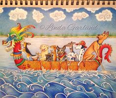 """Yip yip Hooray!! Finished my latest Dragon Boat art today. """"Dog Paddle"""" a beautiful vessel full of loveable pooches.  Which one is your favourite? I think I the Drumming Beagle best Prismacolor pencils on Strathmore toned tan paper  #pinkoala #dragonboat #dragon #dragonart #dog #dogs #dogart #colouredpencil #dogpaddle #arts_secret #arts_help #artshare #talentedpeopleinc #blvart by lindagarlandpinkoala"""