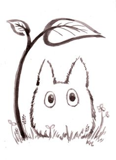 Storybook Totoro Ink Drawing Original My by BumbleBirdStudio