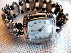 Beaded Stretch Watch Band Black And Clear by LindersCreations, $28.00