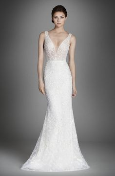 V-Neck Fit and Flare Wedding Dress  with Natural Waist in Beaded Embroidery. Bridal Gown Style Number:33231143