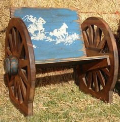 Runnin' and Ropin' Kids Outdoor Chair w/ Wagon Wheels