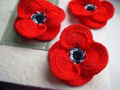 crochet poppy 3D flower appliques