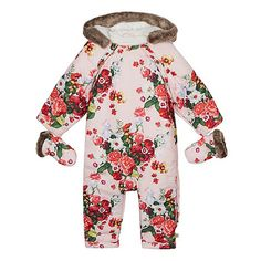 Baker by Ted Baker Babies pale pink floral snowsuit and mittens- at Debenhams.com