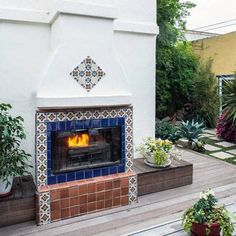 Graceful terracotta chiminea outdoor fireplace only in indoneso design
