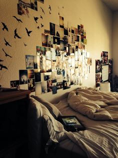 Dorm room Photo wall mixed in with decals! Love it! Dorm Ideas Master Post 2