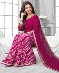 Rani Pink Color Georgette Casual Wear Sarees : Sarthi Collection YF-27419