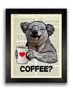KOALA COFFEE   CHECK OUT OUR OTHER PRINTS HERE: https://www.etsy.com/uk/shop/TopLondonPrints