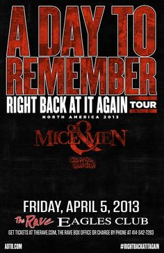 A Day To Remember with Of Mice And Men live at The Rave on April 5, 2013