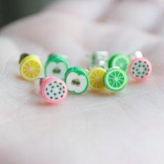 Polymer Clay Fruit Stud Earrings  Set of Four by DuplikaHandmade, $12.00