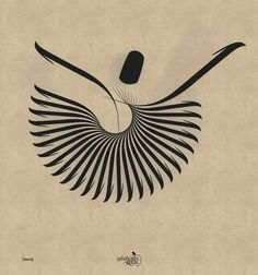 Alif Arabic calligraphy, shaped into a Sufi Muslim mystic, a whirling dervish. Persian Calligraphy, Islamic Art Calligraphy, Calligraphy Letters, Caligraphy, Calligraphy Quotes, Whirling Dervish, Arabic Art, Art And Architecture, Illustration Art