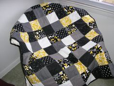 Black White Gray and Yellow Lap Quilt by simpletreasures55 on Etsy