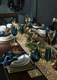 Mesa navideña dorada azul