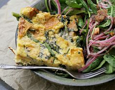 Parmesan Bread Pudding with Broccoli Rabe with Spinach Salad with Dates and Almonds